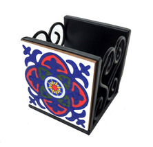 Pen and Pencil Holder Ceramic With Iron Base Square Shape Table Top pen ... - $16.82