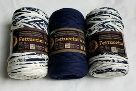 NEW Lot of 3 Lion Brand Yarn Fettuccini Skeins 11 oz 55 yds Blue White C... - $34.64