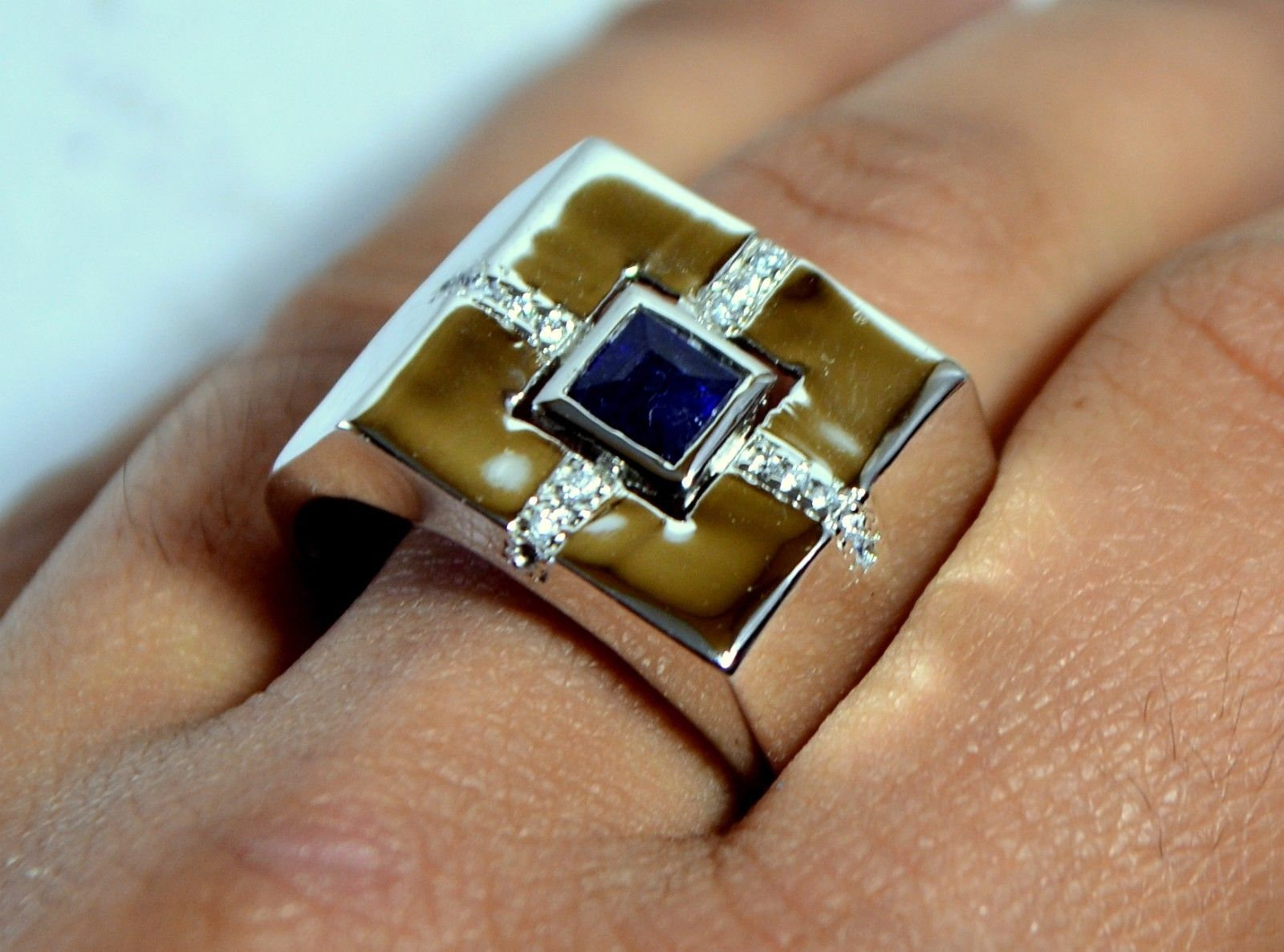 925 Sterling Silver Natural Fine Quality Blue Sapphire And Cz Gemstone Handmade  image 5