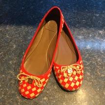 Tory Burch Orange Woven Leather & Knit PRESCOT Ballet Flat, Women Size 9.5m - $69.00