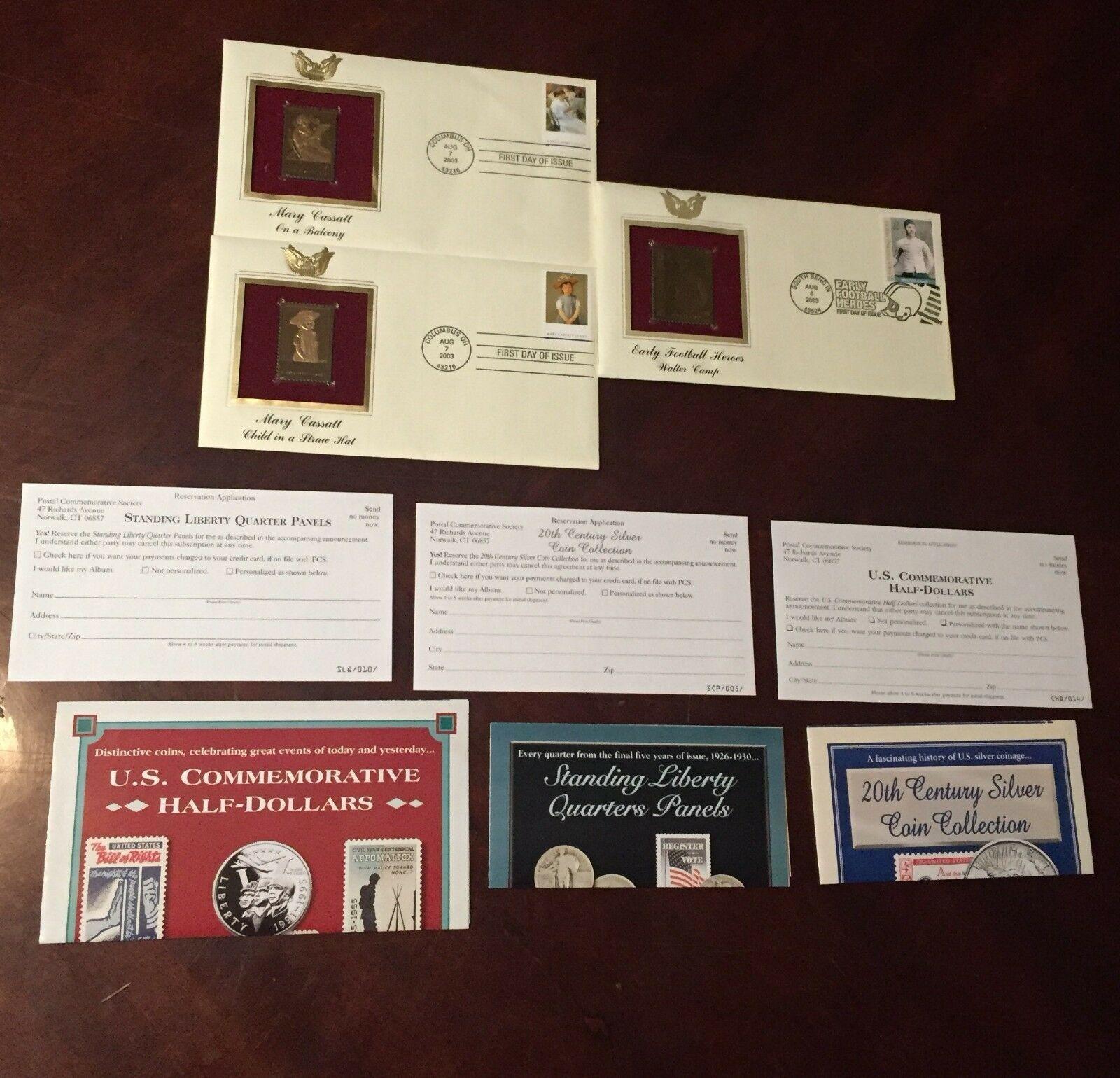 Lot of 3 GOLDEN 22K Gold Stamp Replica 1 Walter camp ~ 2 Mary Cassatt (Balcony/S image 4