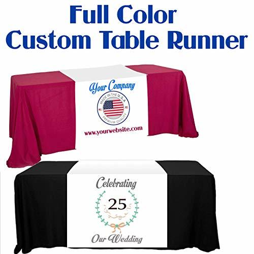 "TremendousDesigns.co Custom Table Runner Full Color Print 24""x72"" Add Your Logo"