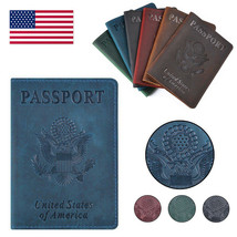 USA Passport Holder Genuine Leather United States of America Travel Cove... - $20.99
