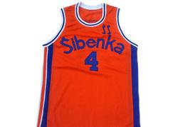 Drazen Petrovic #4 Sibenka Croatia Men Basketball Jersey Orange Any Size image 1