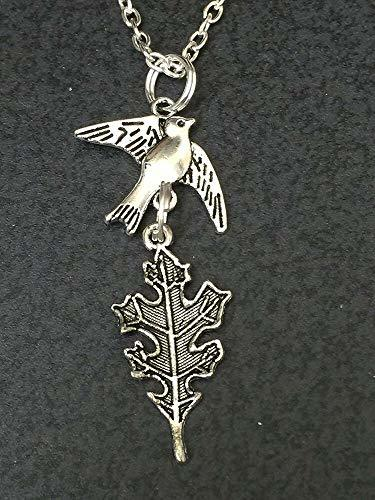 "Primary image for Good Quality Bird Sparrow Carrying Oak Leaf Charm Tibetan Silver 18"" Necklace"