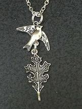 "Good Quality Bird Sparrow Carrying Oak Leaf Charm Tibetan Silver 18"" Nec... - £10.30 GBP"