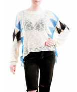 Wildfox Mujer NBW Checkmate Sweater Natural Floor Talla XS - $79.25