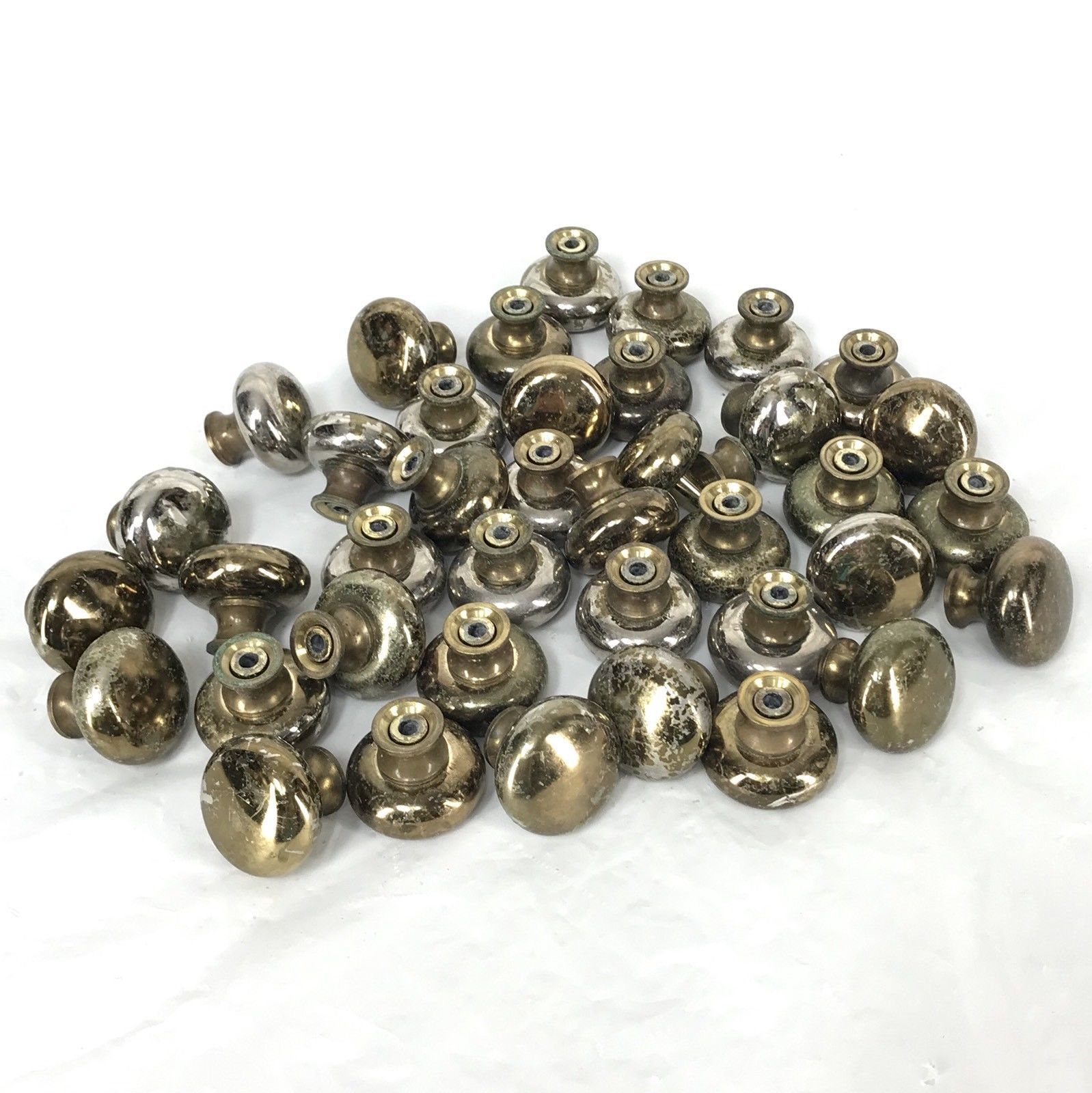 Vintage Mushroom Cabinet Drawer Knob Pull Handle Plated Distressed Lot of 39