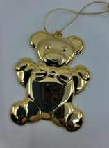 Vtg Signed Gloria Duchin Gold Tone Teddy Bear Christmas Tree Ornament US... - $14.99