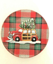 "Red Woody Car Christmas Tree Plaid Melamine 6"" App Dessert Cookie Plates... - $34.64"