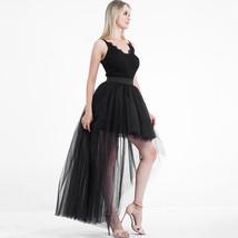 Black Slit Tulle OVERSKIRT Elastic Waist hilo Tulle Skirt Open Skirt Over Skirt image 4