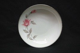 "Rosemarie by Noritake Fine China 7-1/4"" Coupe Soup Bowl White Pink Roses Japan - $14.84"