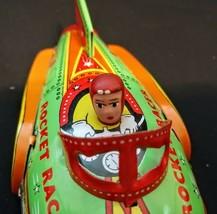 2001 Schylling Tin Rocket Racer Friction Power Litho Metal Rocket on Wheels - $19.31