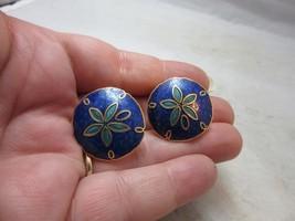 Vintage 1980's cloisonne enamel clip earrings. Sand Dollar. Blue - $9.99