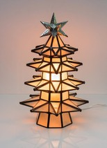 Lighted Christmas Tree Stained Frosted Glass Pierced Metal Tin Handmade ... - $217.80