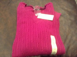 Sonoma Talpa Marrone LG o Rosa Bacche Sz Media Cavo Cotone Scollo V Maglione Nwt - $2.99
