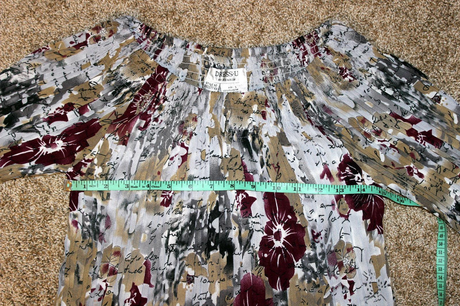Dress-U Long Sleeve Multicolor Flower Off-shoulder Crinkled Pleated Top Blouse L image 3