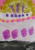 """Original Abstract Watercolor Painting """"Birthday"""" ACEO by 6 Year Old Arti... - $7.99"""