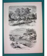 JAPAN Emperor's Gardens - 1866 Antique Print Engraving - $16.20