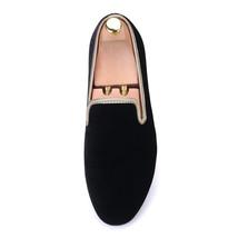 Handmade Men's Black Velvet Slip Ons Loafer Shoes image 5