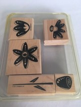 Stampin Up Funky Flowers Mounted Stamp Set of 5 Stem Garden Crafting Card Making - $13.50