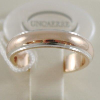 18K YELLOW WHITE GOLD WEDDING BAND UNOAERRE RING 7 GRAMS MARRIAGE MADE IN ITALY