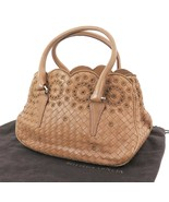 Auth BOTTEGA VENETA Brown Woven and Leather Tote Handbag Purse #31524 - $427.50