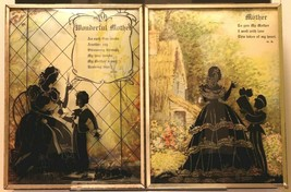 """Set of 2 Convex Glass 6 1/2"""" X 8 1/2"""" Silhouette Pictures Mother 144"""
