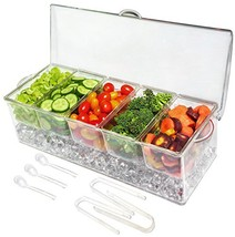 Ice Chilled 5 Compartment Condiment Server Caddy - Serving Tray Containe... - $30.80