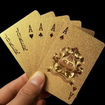 Golden Playing Cards Deck gold foil poker set Magic card 24K Gold Plasti... - $38.94