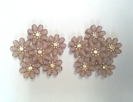 Vintage Flower Cluster Brass and Rhinestone Clip On Statement Earrings - $145.00