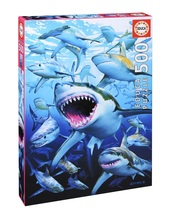 "NEW Educa Jigsaw Puzzle Game 500 Pieces Tiles ""Shark Club"" by Royce B. M... - $29.89"