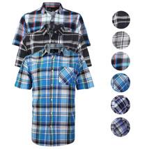 Men's Plaid Checkered Button Down Casual Short Sleeve Regular Fit Dress Shirt