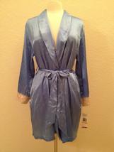 Jones New York Solid Essentials Embroidered Wrap Robe 4J232W Blue S/M L/XL - $17.99