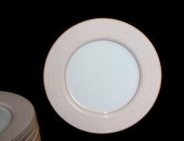 6 Fitz & Floyd Adobe Peach Dinner Plates Gold Accents New Disc 1992 - $89.99