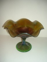Green Carnival Glass Compote Vintage Underlined N in Circle on inside bo... - $24.99