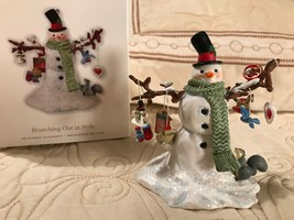 Christmas ornament hallmark snowman holding lots of items Branching out ... - $7.91