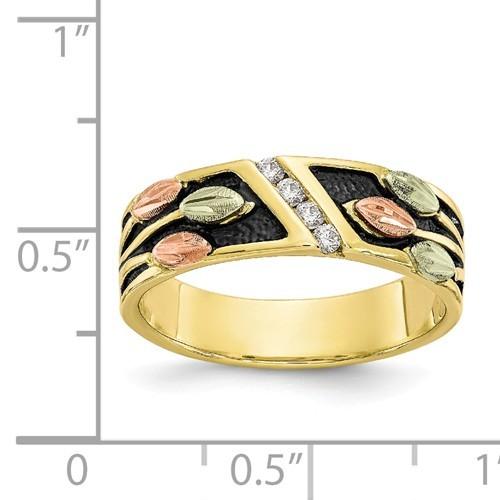 10K Tri-Color Black Hills Gold Antiqued Diamond Ring