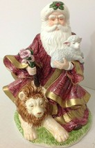 Vintage Santa Christmas Round World Lion Lamb Musical Come Adore Him Cer... - $39.59