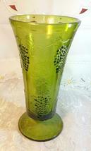 "Indiana Glass Colony Grapes & Leaves Avocado Green Vase 9 5/8"" tall image 3"