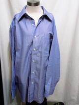 Ralph Lauren Men's size 18 34/35 non iron blue stripe 100% cotton Shirt - $18.42