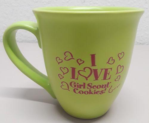 I love girl scout cookies large coffee mug green