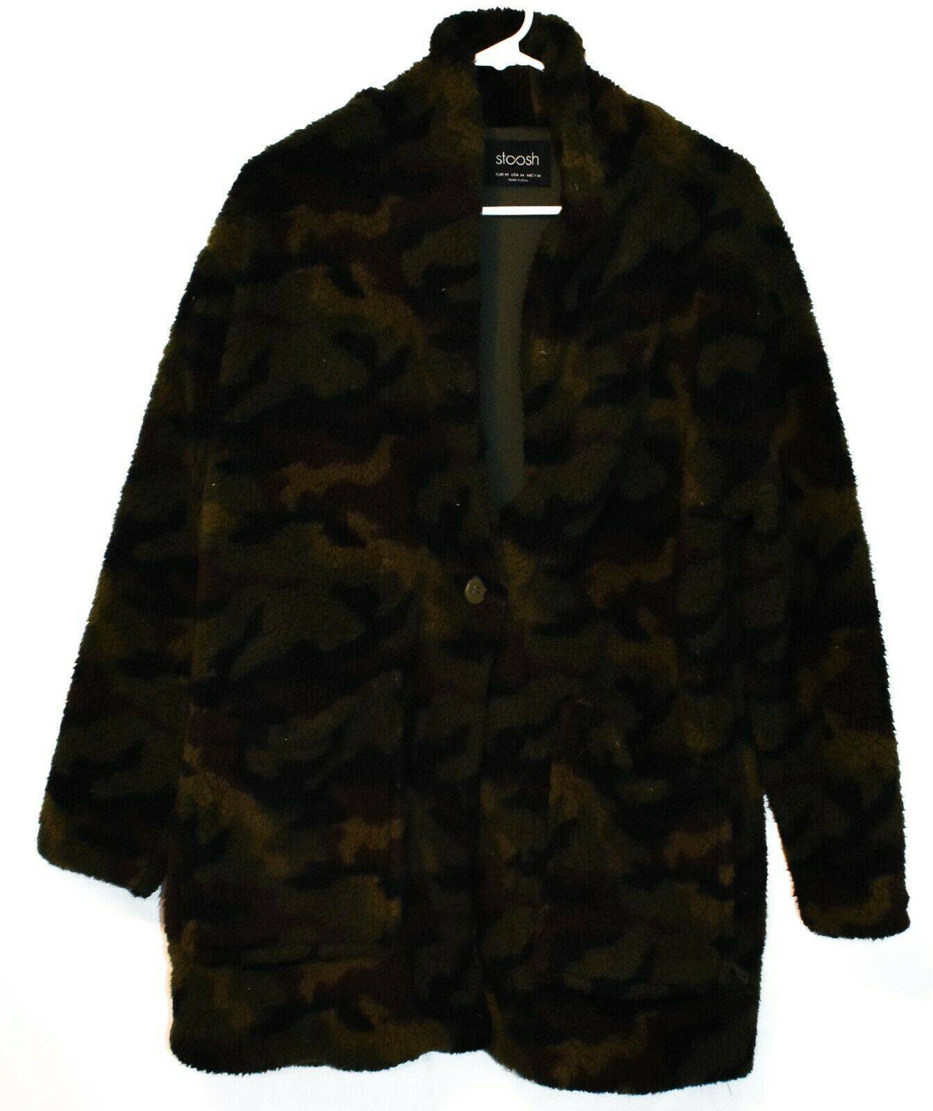 Stoosh Women's Ashley Oversized Green Camouflage Camo Fleece Jacket Size M