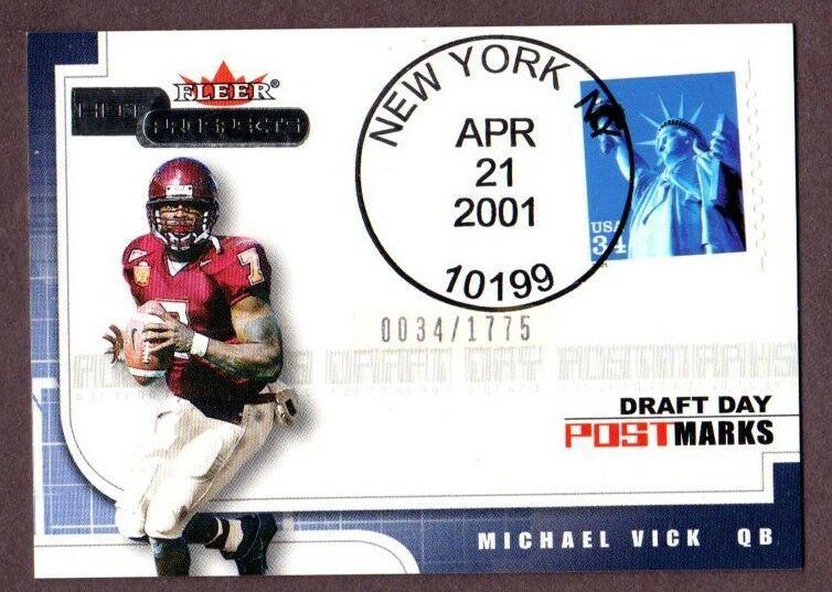 2001 FLEER HOT PROSPECTS MICHAEL VICK (RC) DRAFT DAY POSTMARKS #034/1775