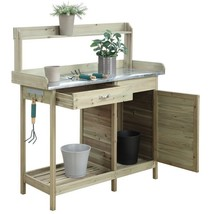 Convenience Concepts Deluxe Potting Bench with Cabinet in Natural Fir   - $195.37 CAD