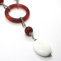 Silver 925 Necklace, Agate White, Onyx, Carnelian, Pendant, Chain Rolo ' image 2