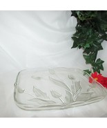 MIKASA NADINE RECTANGULAR TRAY SERVING PLATTER CLEAR GLASS FROSTED TULIP... - $19.99