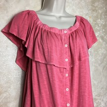 American Eagle Outfitters Size XL Soft & Sexy Slub Top Ruffles Pink - $14.70