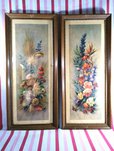 Delightful 2pc Vintage MCM Roberto Colorful Floral Butterfly Prints Wood... - $38.00