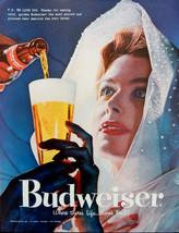 Vintage 1957 Budweiser beer elegant woman advertisement print ad art - $10.39